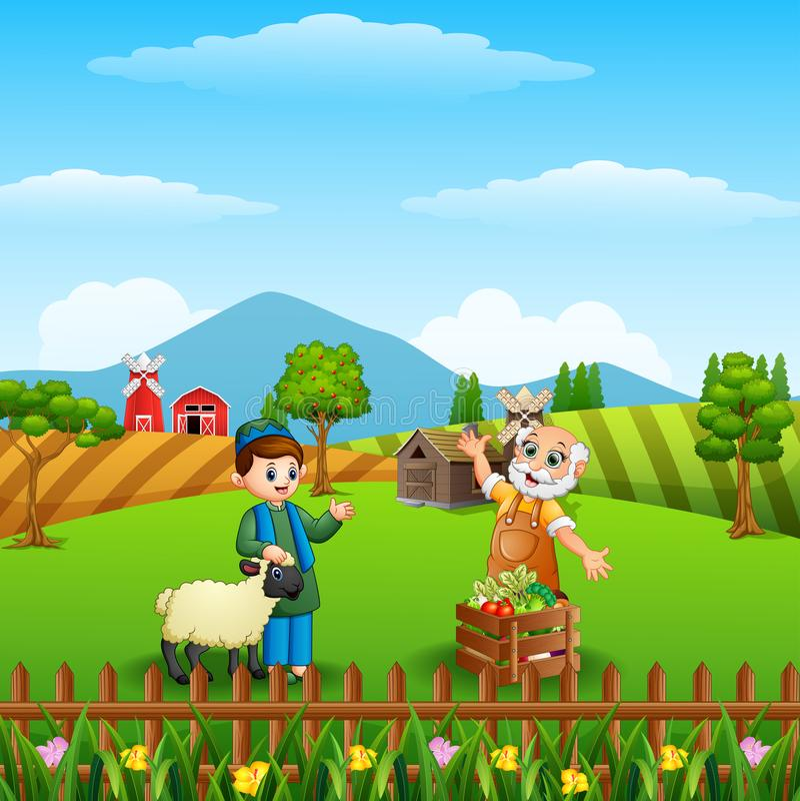 Kreskówki Muzułmańska chłopiec i jego cakle z starym rolnikiem przy rolnym tłem ilustracji