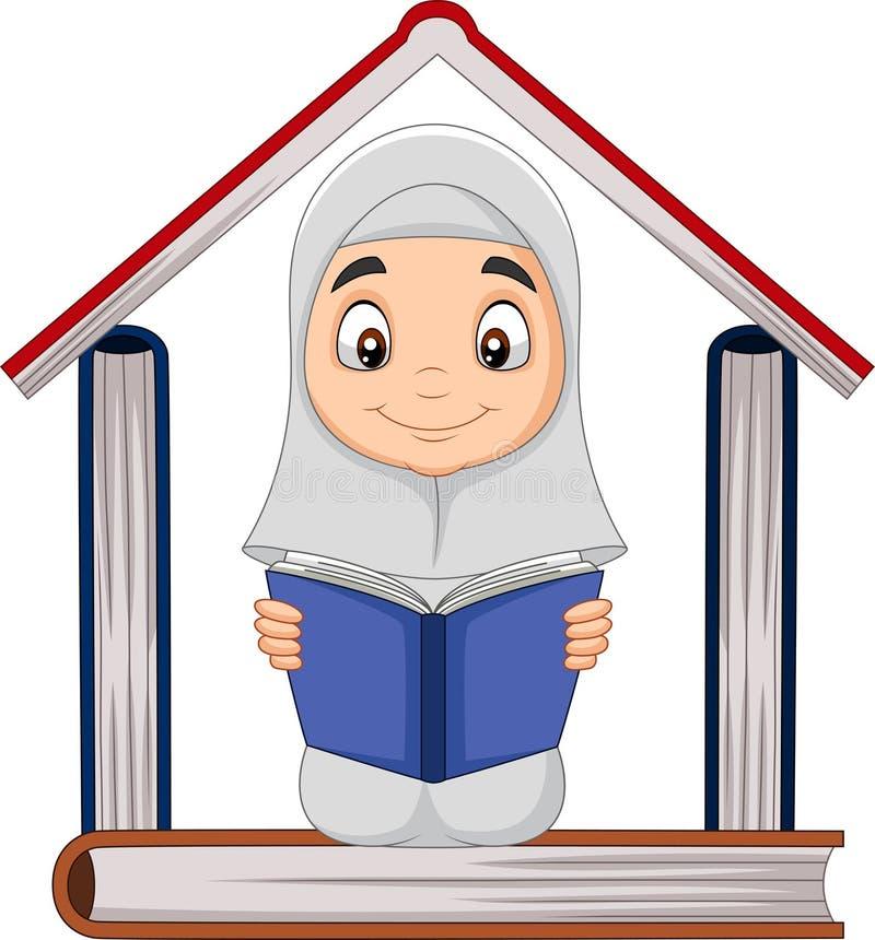 Kresk?wki Muzu?ma?ska dziewczyna czyta ksi??k? z stosem ksi??ki tworzy dom royalty ilustracja