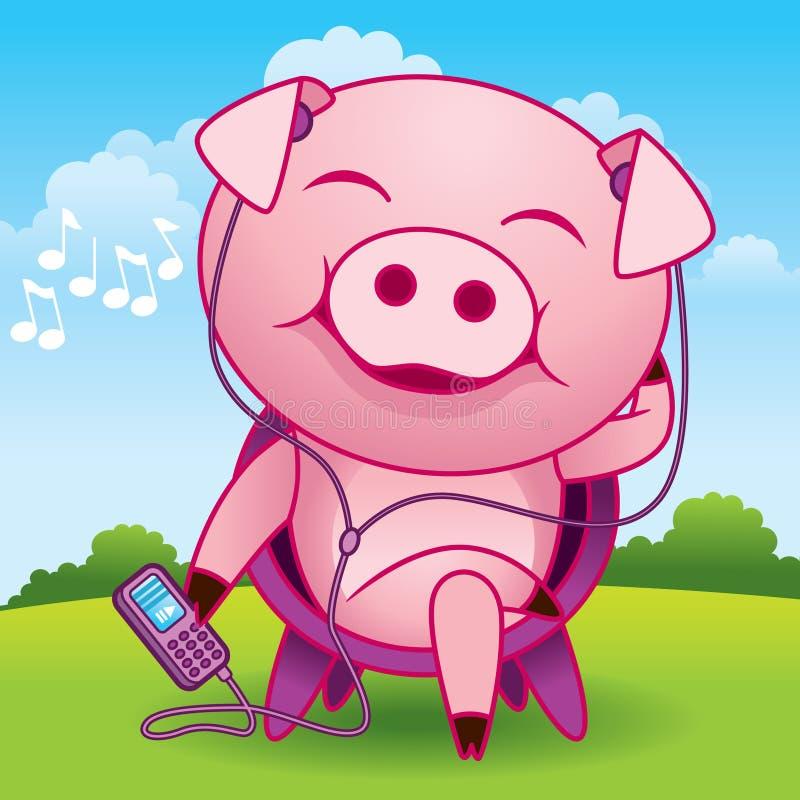 kreskówki muzyki świnia royalty ilustracja