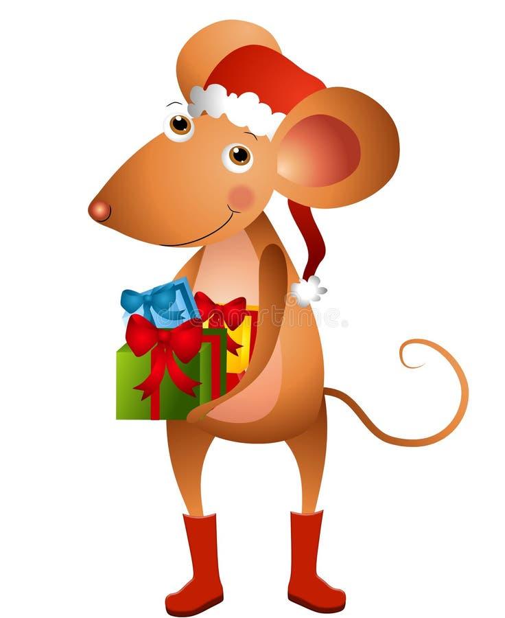 kreskówki mysz Santa royalty ilustracja