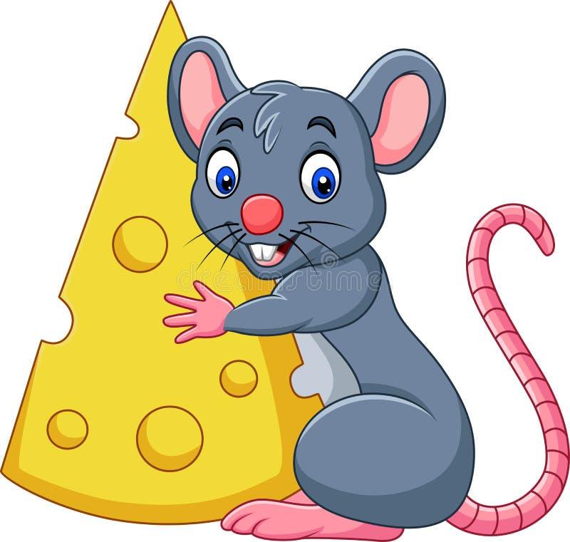 Kreskówki mysz trzyma dużego plasterek ser ilustracja wektor