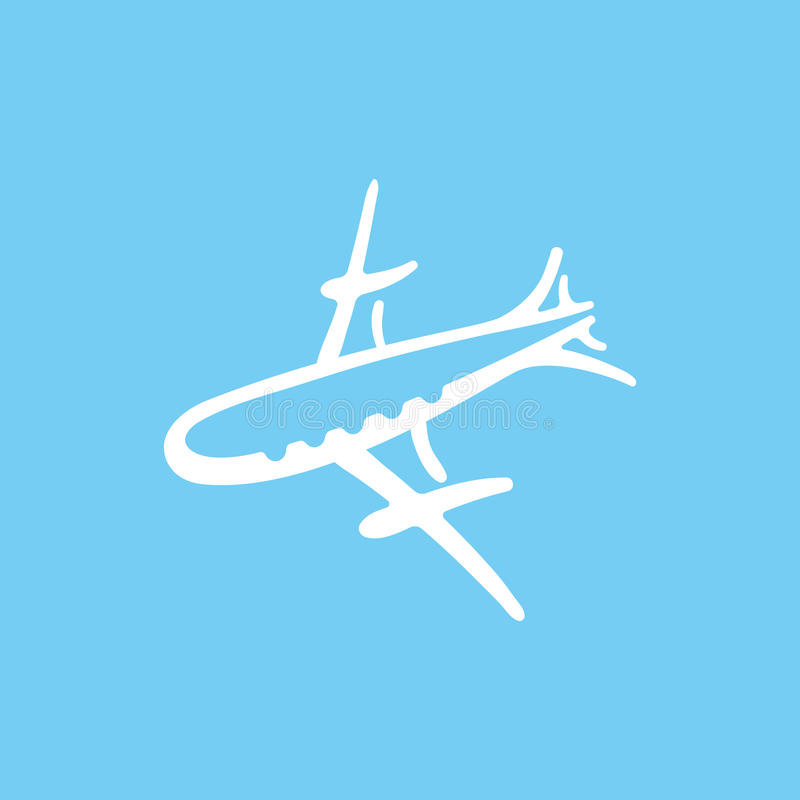 Kreskówki nakreślenia ikony wektoru samolotowa ilustracja ilustracja wektor