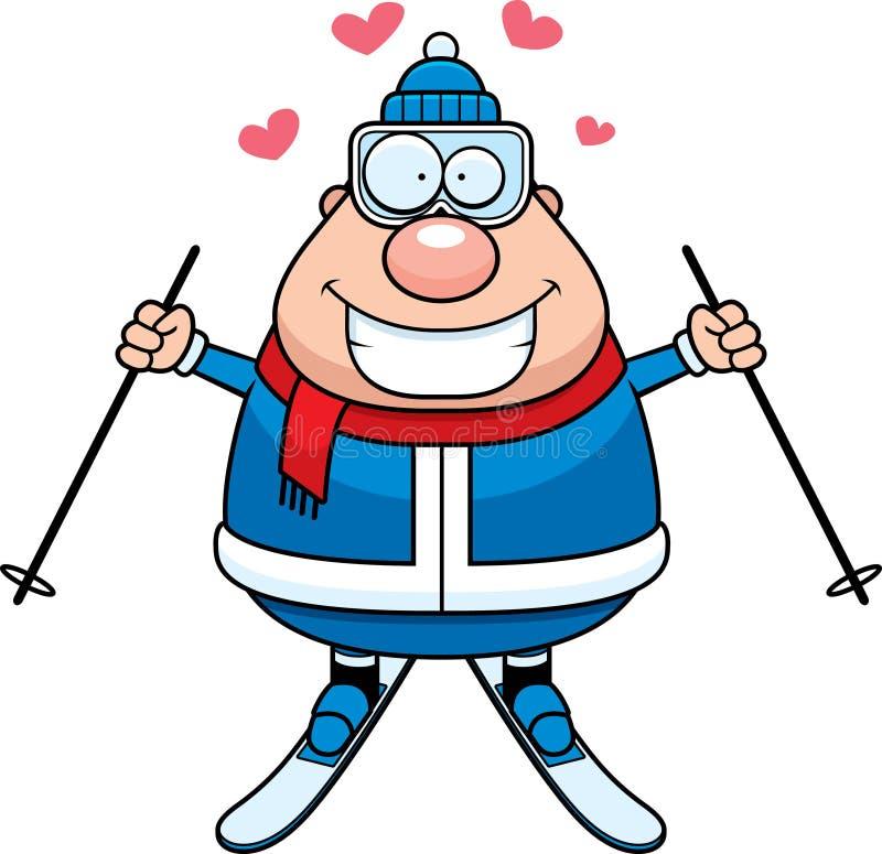 Kreskówki narciarki miłość ilustracja wektor