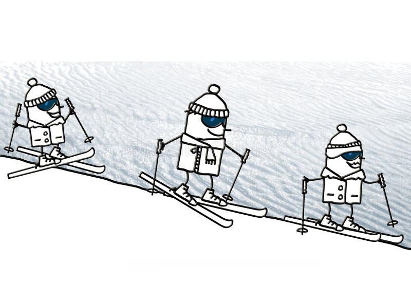Kreskówki narciarstwa szczęśliwa rodzina ilustracji
