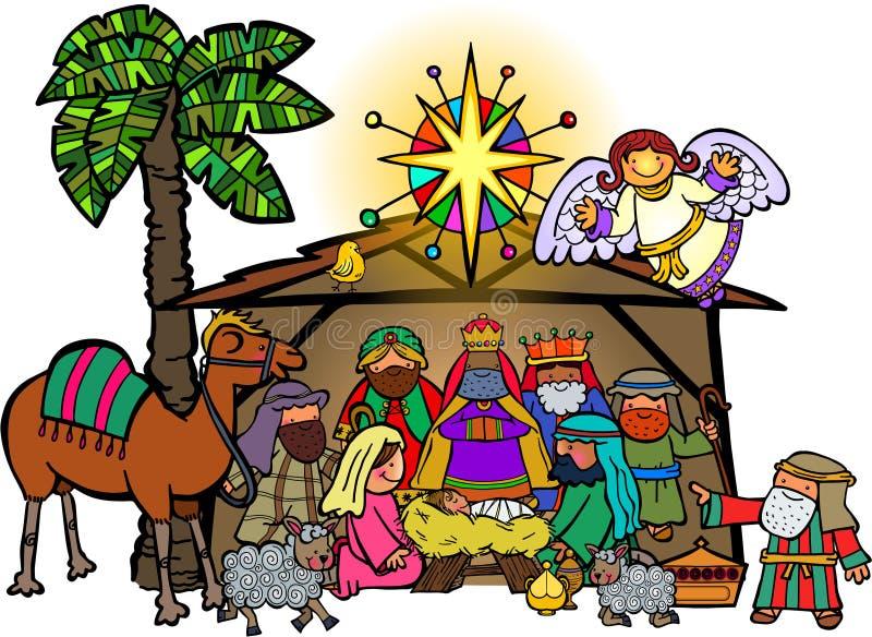Kreskówki narodzenia jezusa Bożenarodzeniowa scena ilustracja wektor
