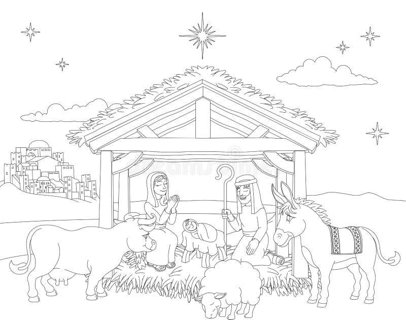 Kreskówki narodzenia jezusa sceny Bożenarodzeniowa kolorystyka ilustracji