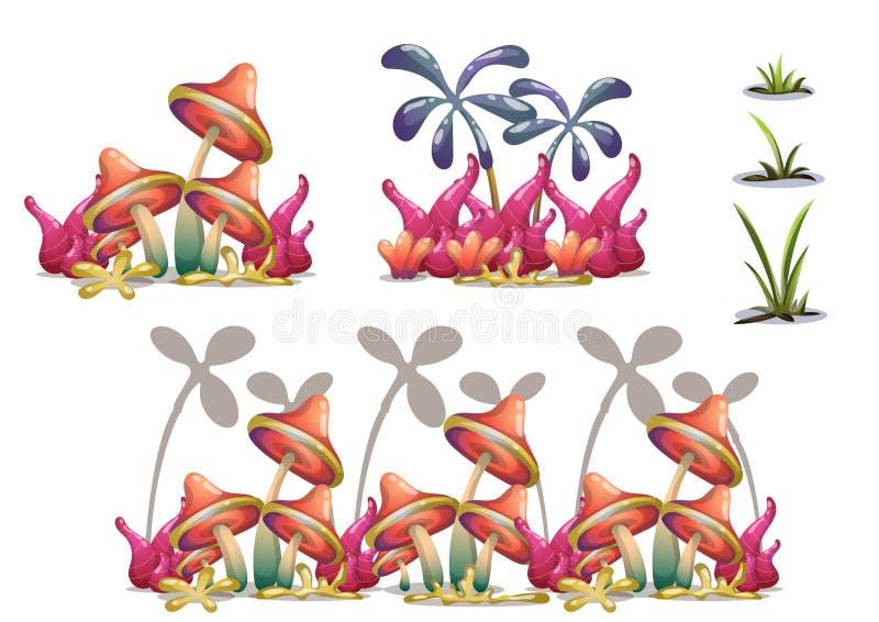 Kreskówki natury krajobrazu wektorowy przedmiot z oddzielonymi warstwami dla gemowej sztuki i animaci gemowego projekta wartości ilustracja wektor