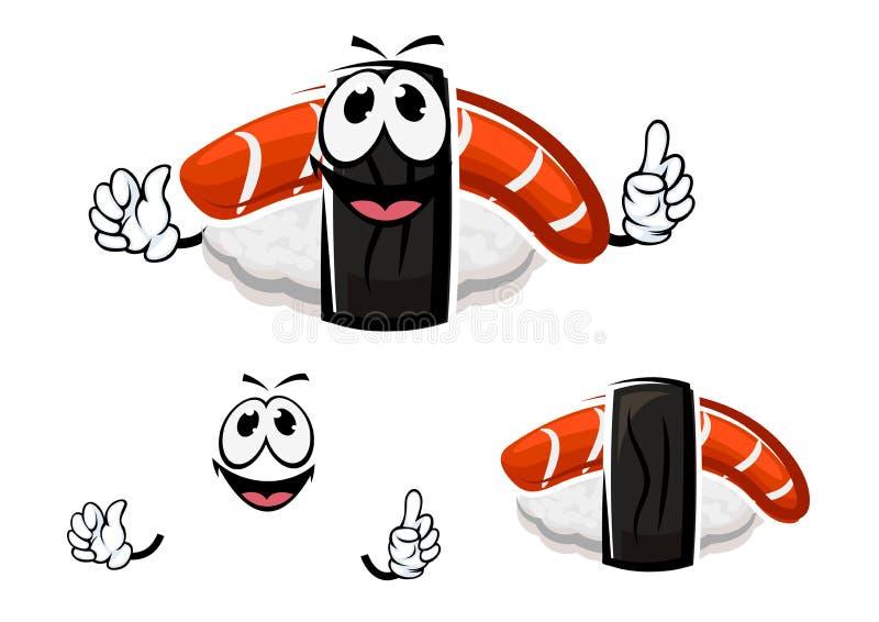 Kreskówki nigiri suszi z uwędzonym łososiem ilustracja wektor