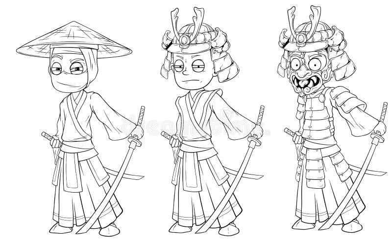 Kreskówki ninja azjatykci samurajowie z kordzika charakteru wektorem ilustracja wektor