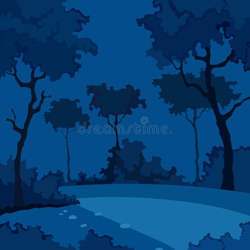 Kreskówki nocy tło las z deciduous drzewami ilustracji