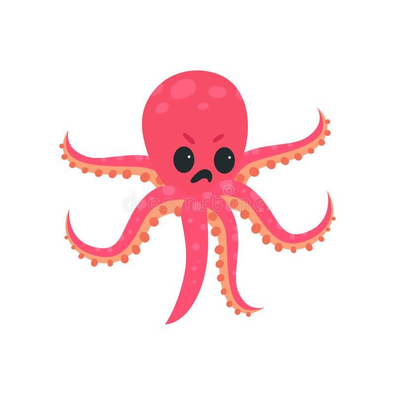 Kreskówki ośmiornicy charakter z gniewnym twarzy wyrażeniem Morski istoty pojęcie Różowy tentacled mollusk Płaski wektor ilustracja wektor