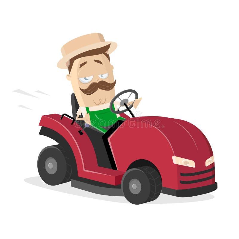 Kreskówki ogrodniczka z gazonu kosiarza ciągnikiem ilustracja wektor