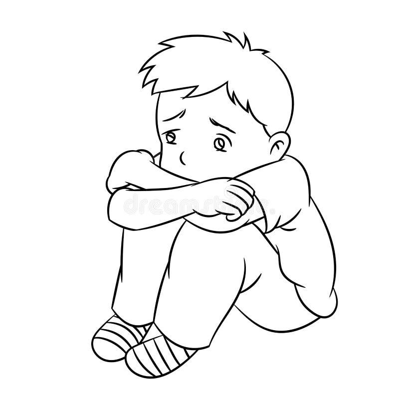 Kreskówki Osamotniona chłopiec - linia Rysujący wektor ilustracji
