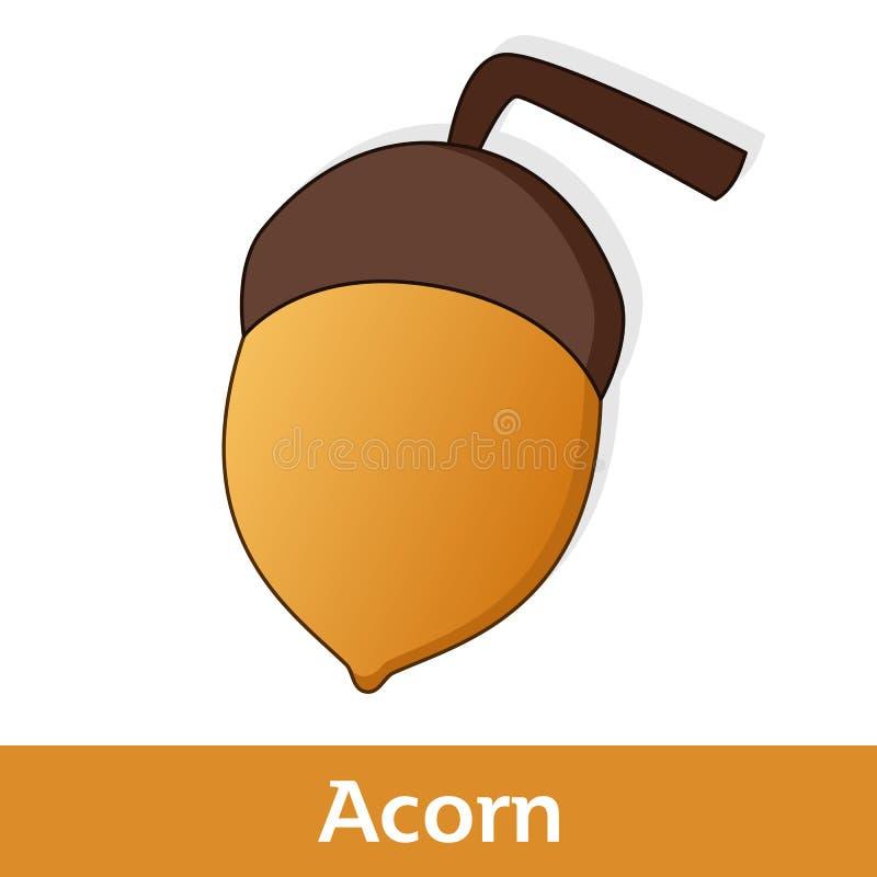 Kreskówki owoc - Duży kolor żółty i Brown Acorn ilustracja wektor