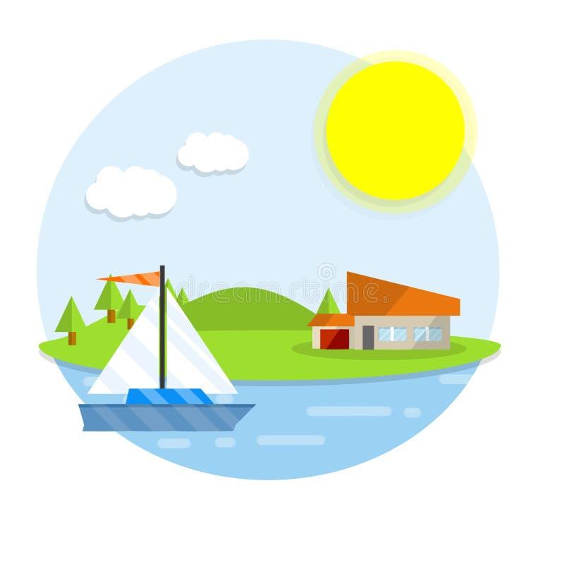 Kreskówki płaska ilustracja - dom w naturze z plażą i wodą naturalny widok i krajobraz ilustracji