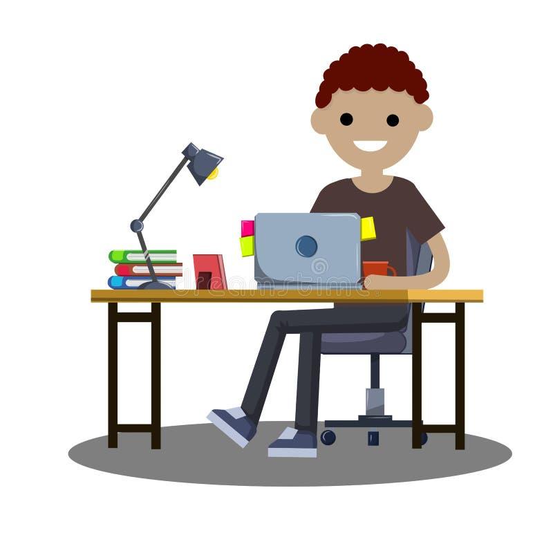 Kreskówki płaska ilustracja - młody studencki faceta obsiadanie przy stołem z laptopem ilustracji