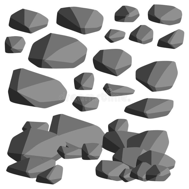 Kreskówki płaska ilustracja - set rockowi kamienie ilustracja wektor