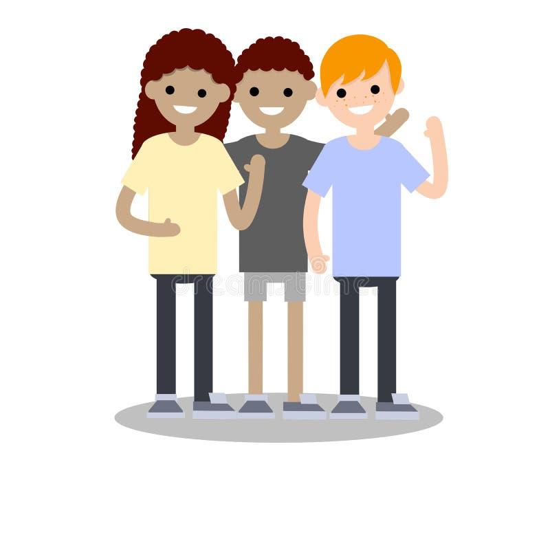 Kreskówki płaska ilustracja - Trzy wielokulturowego przyjaciela ilustracja wektor