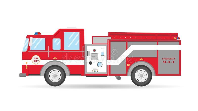 Kreskówki płaskiego Amerykańskiego Firetruck samochodowy wektorowy ilustracyjny przeciwawaryjny pojazd ilustracji