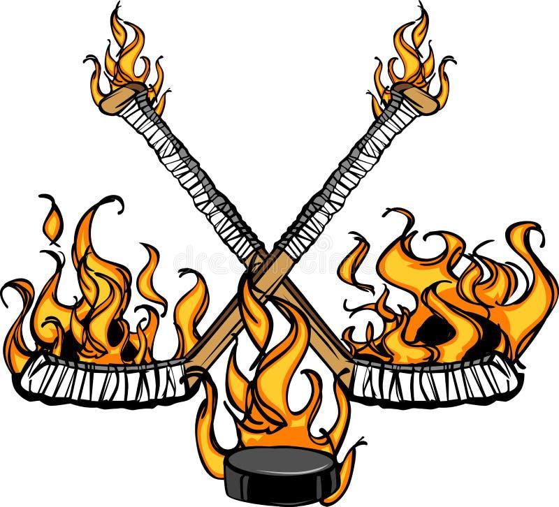 kreskówki płomienni hokejowi illustratio krążek hokojowy kije royalty ilustracja