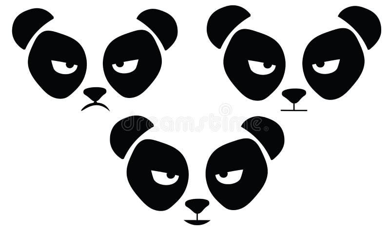 Kreskówki pandy głowy twarzy ilustracji czarny i biały szablon royalty ilustracja
