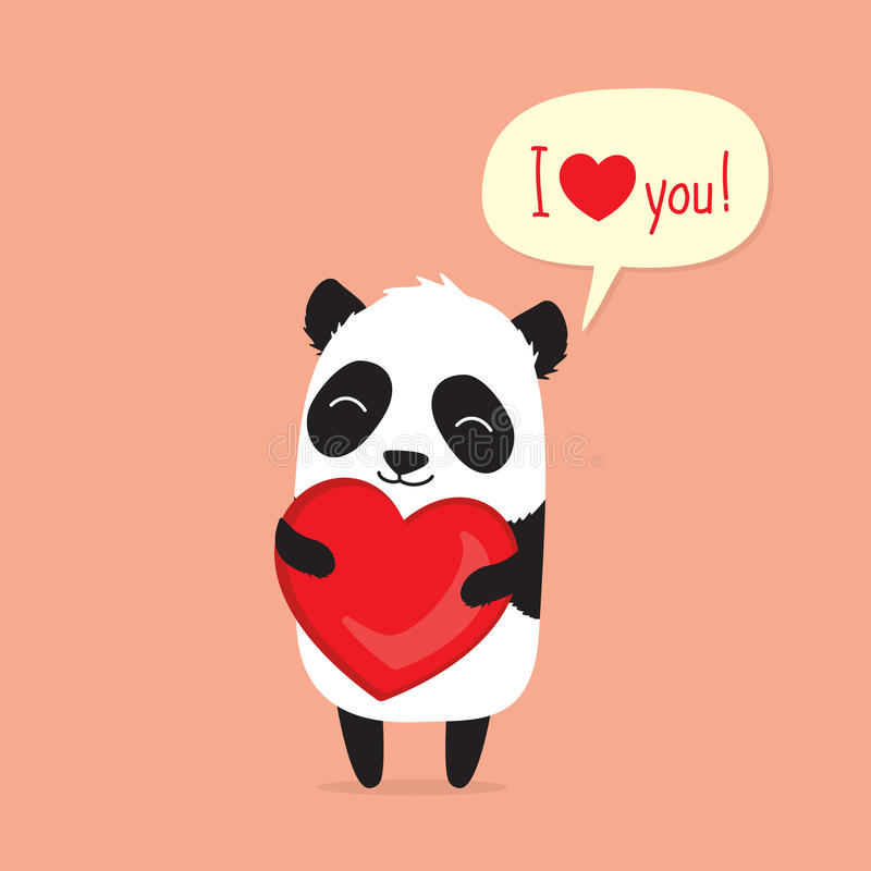 Kreskówki pandy mienia serce i mówić kocham ciebie w mowa bąblu karciany dzień powitania s valentine ilustracji