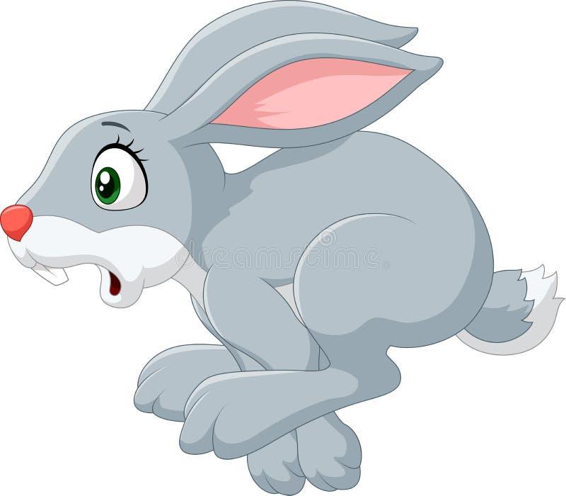 Kreskówki paniki królika bieg odizolowywający na białym tle royalty ilustracja