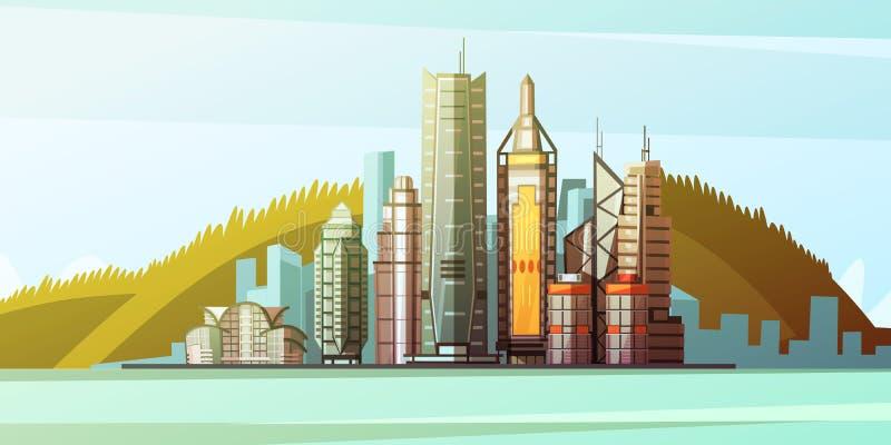 Kreskówki panorama Hong Kong centrum royalty ilustracja