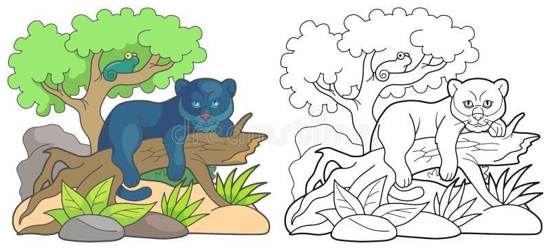 Kreskówki pantera odpoczywa na starym drzewie ilustracja wektor
