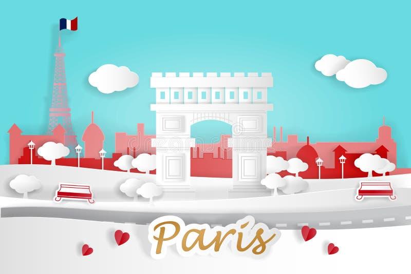 Kreskówki Paris miasto ilustracja wektor