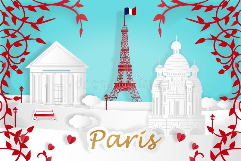 Kreskówki Paris miasto ilustracji