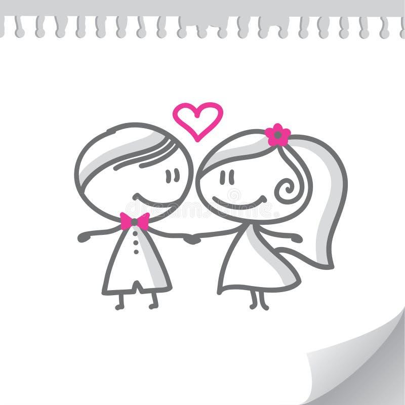 kreskówki pary ślub ilustracja wektor