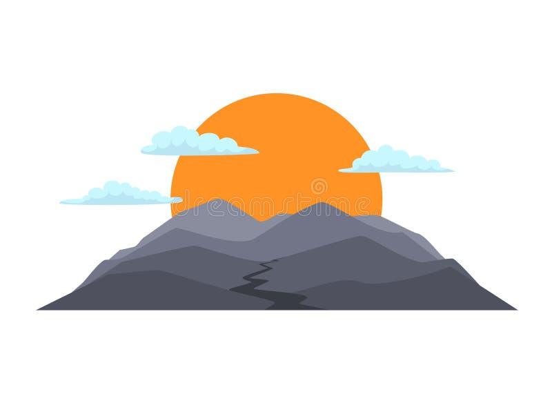 Kreskówki pasmo górskie z słońcem chmurnieje wektor ilustracji