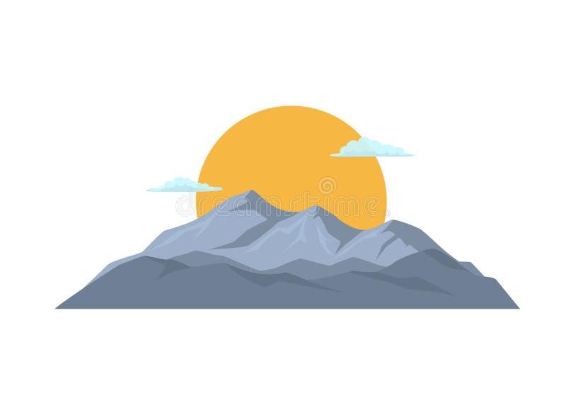 Kreskówki pasmo górskie z słońcem i chmurami royalty ilustracja