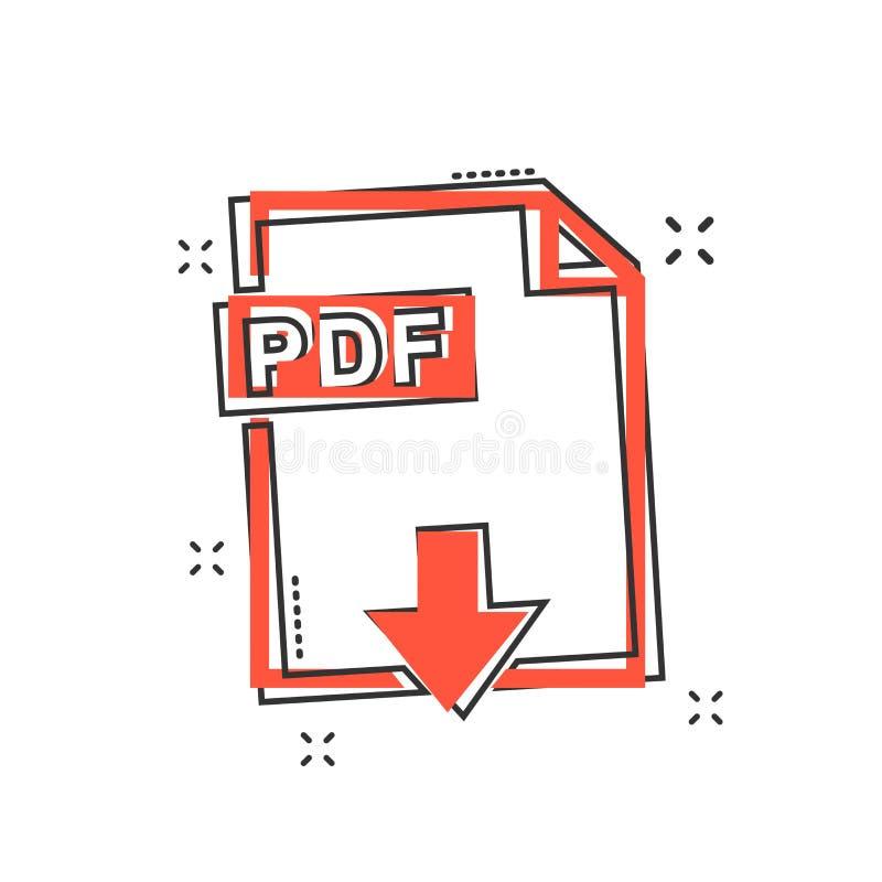 Kreskówki PDF ikona w komiczka stylu PDF dokumentu ilustraci picto royalty ilustracja
