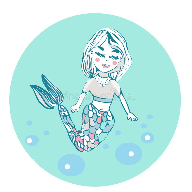 Kreskówki piękna mała syrenka w wianku syrena abstrakcjonistyczny abstrakci tła morza temat tła ilustracyjny stary pergaminowy śl ilustracji