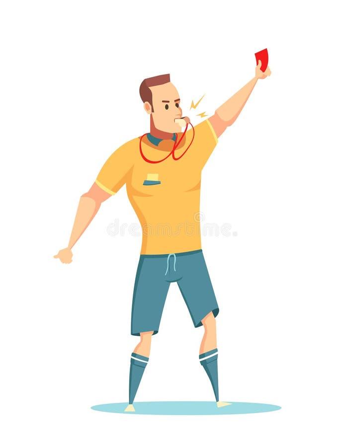 Kreskówki piłki nożnej arbitra charakteru projekt ilustracja wektor