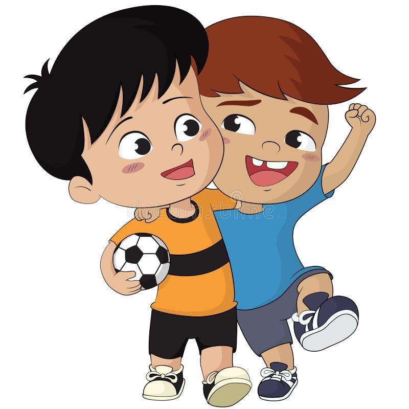 Kreskówki piłki nożnej dzieciaki Wektor i ilustracja ilustracji