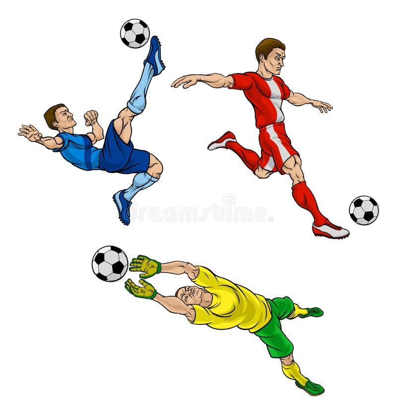 Kreskówki piłki nożnej gracze futbolu royalty ilustracja