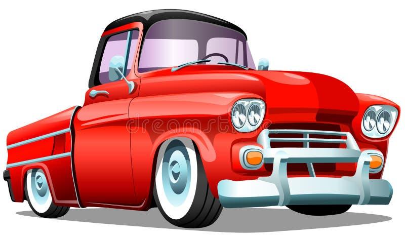Kreskówki pickup czerwony retro ciężarowy samochód na białym tle, ESP Wektorowa ilustracja ilustracja wektor