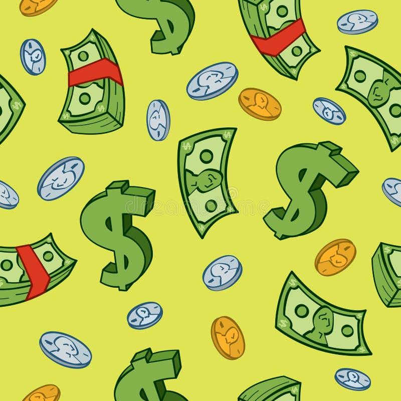 kreskówki pieniądze wzór bezszwowy ilustracji