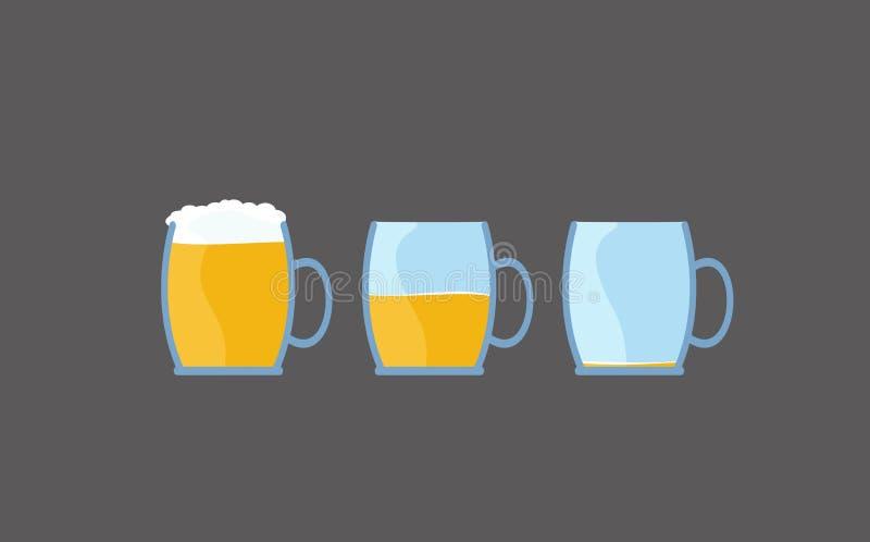 Kreskówki piwna ilustracja od pełnego opróżniać szkło alkoholiczny napój ilustracja wektor