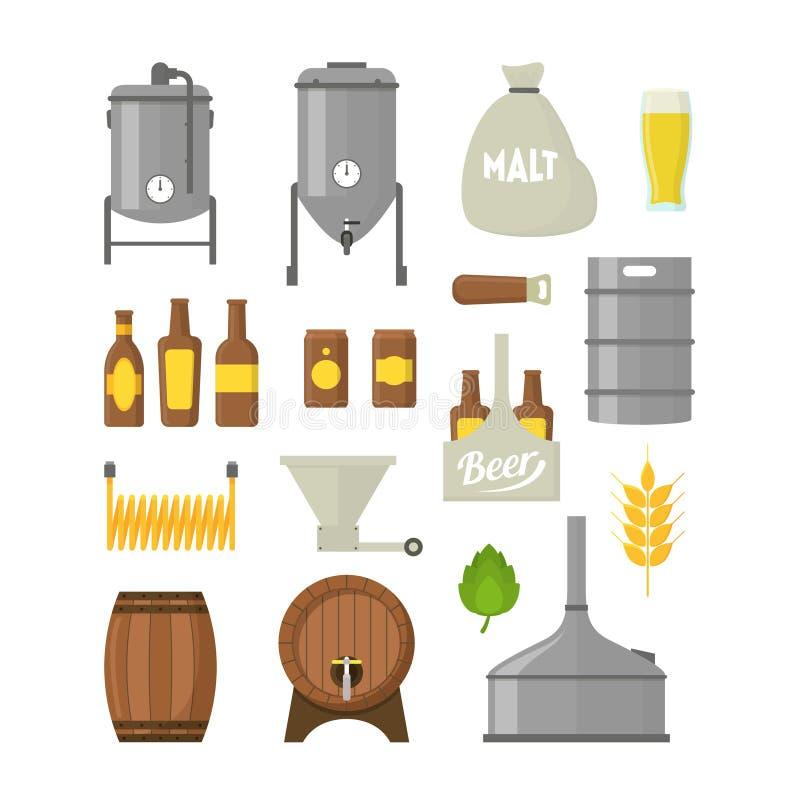 Kreskówki Piwnego piwowarstwa koloru ikony Ustawiać wektor ilustracji