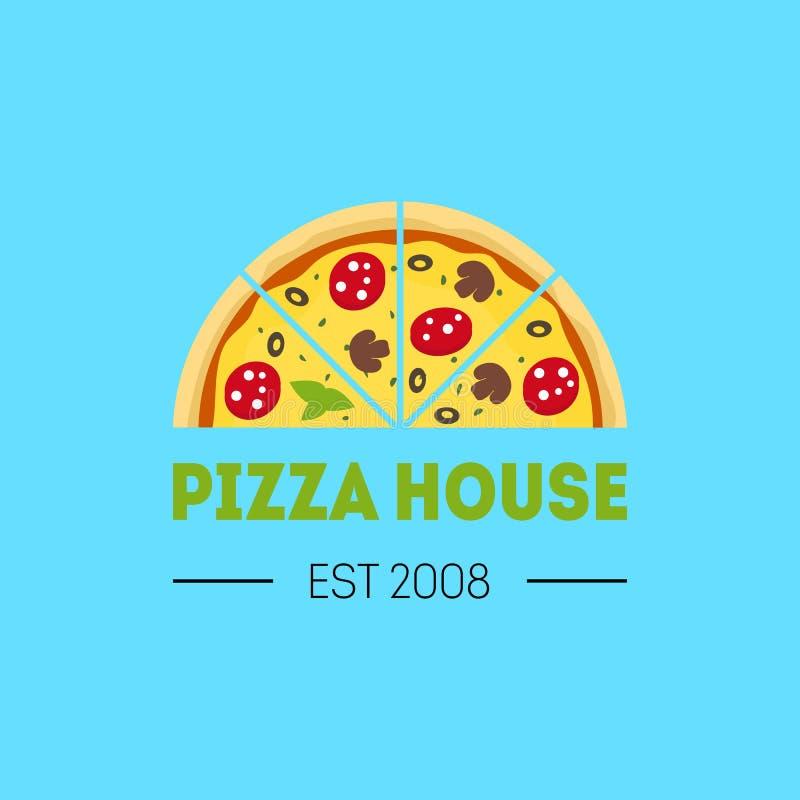 Kreskówki pizzeria znaka koloru karty plakat wektor ilustracja wektor