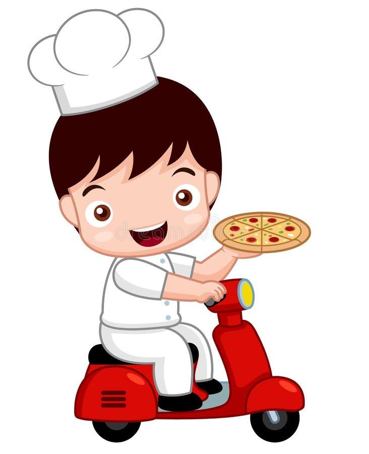 Kreskówki pizzy Śliczny szef kuchni na rowerze royalty ilustracja