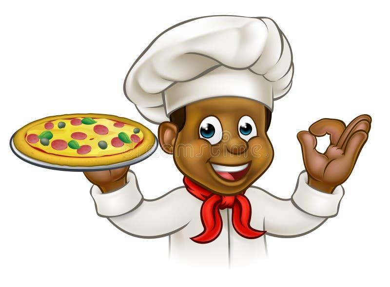 Kreskówki pizzy Czarny szef kuchni royalty ilustracja