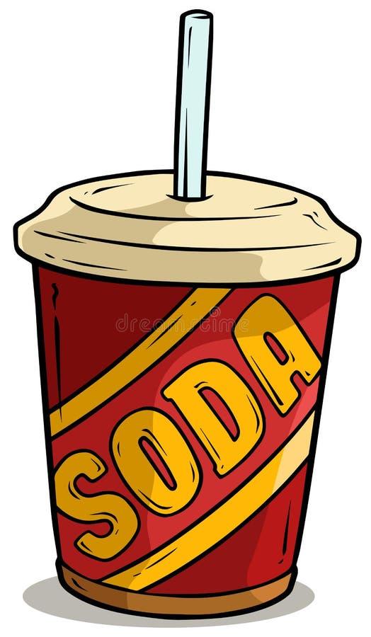 Kreskówki plastikowa filiżanka sodowany napój z słomą ilustracji