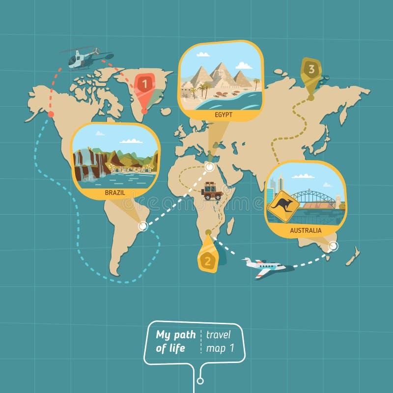 Kreskówki podróży mapa ilustracji