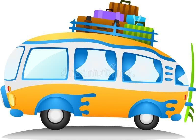 kreskówki podróży samochód dostawczy ilustracji