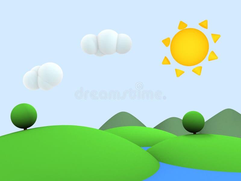kreskówki pogodny krajobrazowy ilustracja wektor